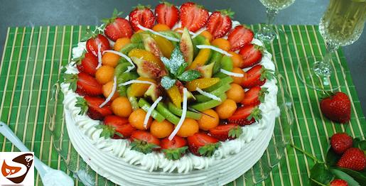 Torta alla frutta : con pan di spagna e crema Chantilly – come decorare una torta