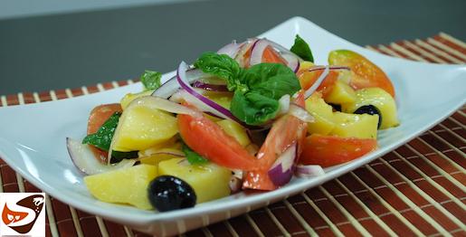 Insalata di patate: con pomodori e cipolla di Tropea (insalata calabrese)