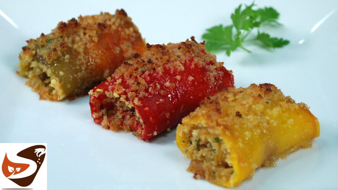 Involtini di peperoni ripieni e  gratinati al forno – Ricetta estiva facilissima