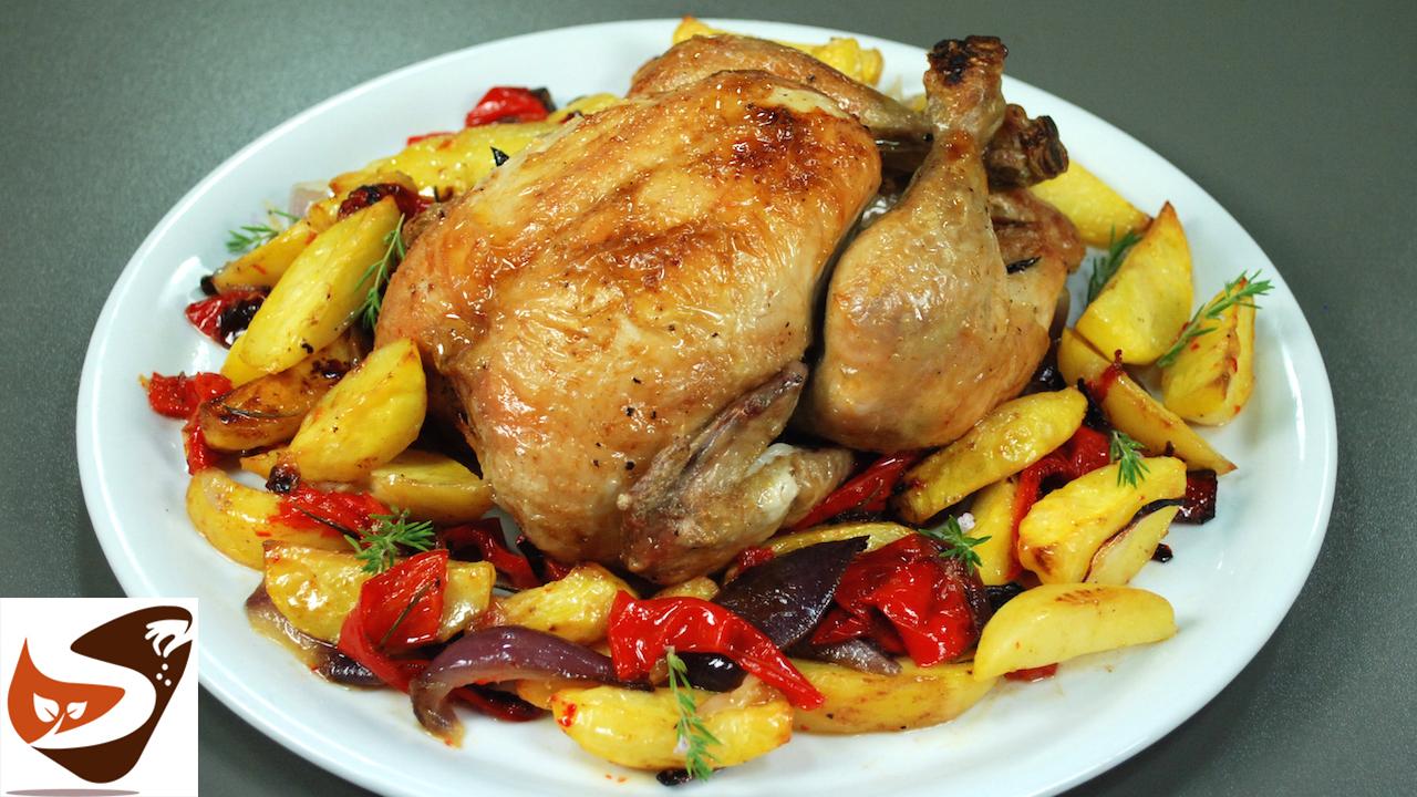Pollo al forno, con patate, peperoni e cipolle – Secondi piatti