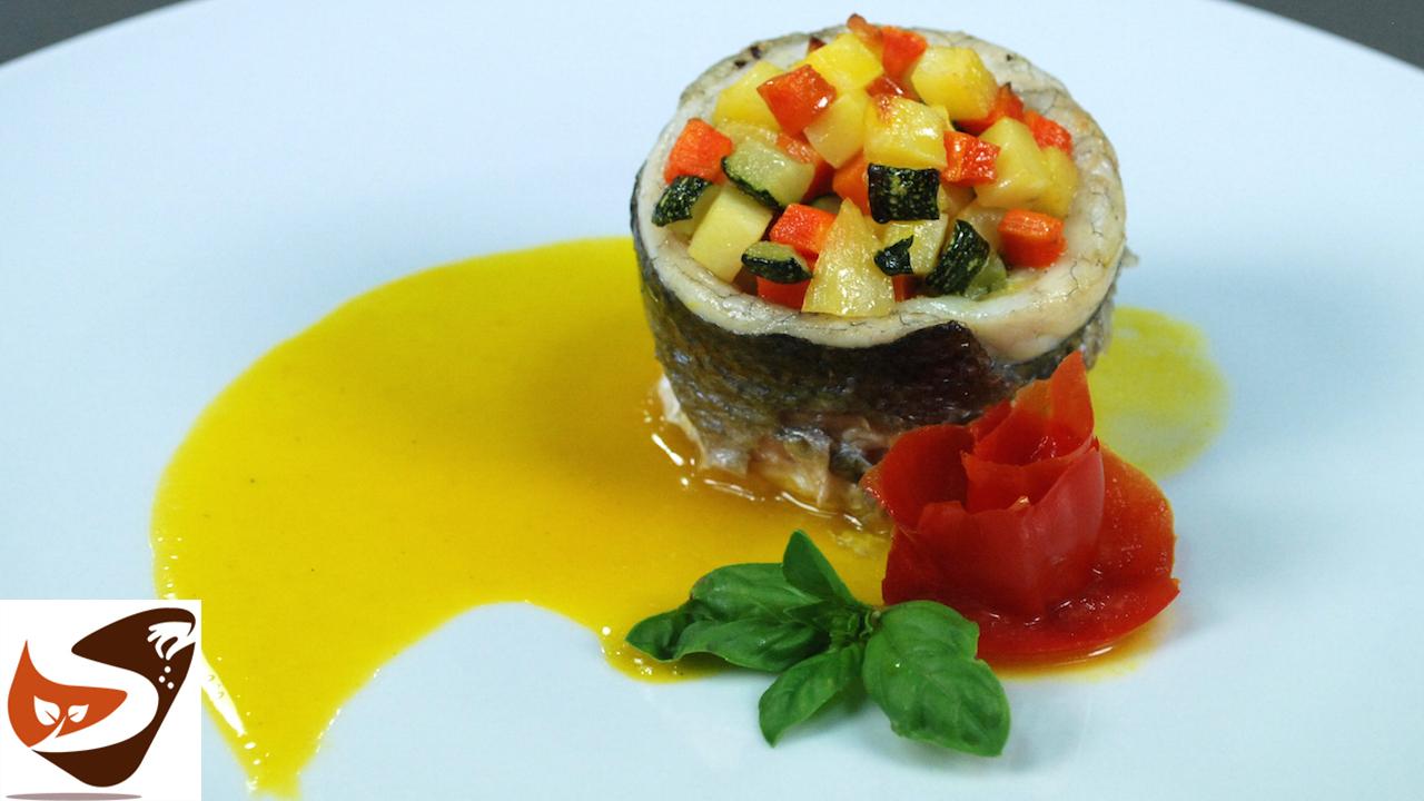 Pesce al forno con verdure croccanti